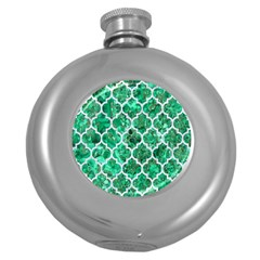 Tile1 White Marble & Green Marble Round Hip Flask (5 Oz)
