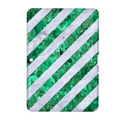 Stripes3 White Marble & Green Marble (r) Samsung Galaxy Tab 2 (10 1 ) P5100 Hardshell Case  by trendistuff