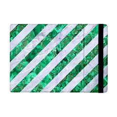 Stripes3 White Marble & Green Marble (r) Ipad Mini 2 Flip Cases by trendistuff