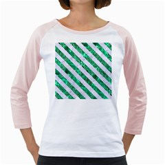 Stripes3 White Marble & Green Marble Girly Raglans