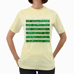 Stripes2 White Marble & Green Marble Women s Yellow T Shirt