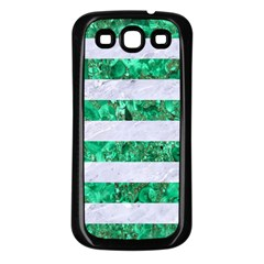 Stripes2 White Marble & Green Marble Samsung Galaxy S3 Back Case (black) by trendistuff