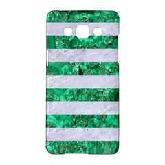 Stripes2 White Marble & Green Marble Samsung Galaxy A5 Hardshell Case  by trendistuff