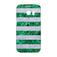 Stripes2 White Marble & Green Marble Samsung Galaxy S6 Edge Hardshell Case by trendistuff