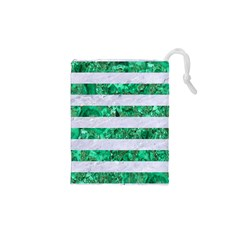 Stripes2 White Marble & Green Marble Drawstring Pouches (xs)  by trendistuff