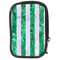 Stripes1 White Marble & Green Marble Compact Camera Cases by trendistuff