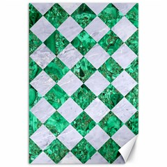 Square2 White Marble & Green Marble Canvas 12  X 18   by trendistuff