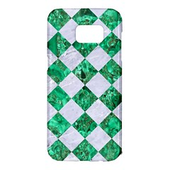 Square2 White Marble & Green Marble Samsung Galaxy S7 Edge Hardshell Case