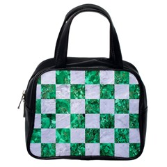 Square1 White Marble & Green Marble Classic Handbags (one Side) by trendistuff
