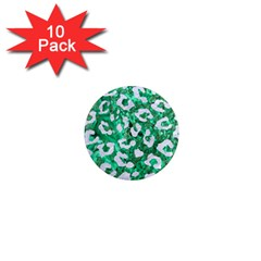 Skin5 White Marble & Green Marble (r) 1  Mini Magnet (10 Pack)  by trendistuff