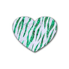 Skin3 White Marble & Green Marble (r) Rubber Coaster (heart)  by trendistuff