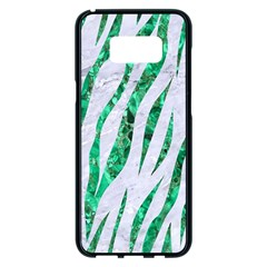 Skin3 White Marble & Green Marble (r) Samsung Galaxy S8 Plus Black Seamless Case