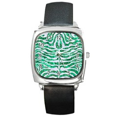 Skin2 White Marble & Green Marble Square Metal Watch by trendistuff