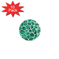 Skin1 White Marble & Green Marble (r) 1  Mini Magnet (10 Pack)  by trendistuff