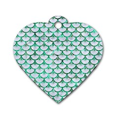Scales3 White Marble & Green Marble (r) Dog Tag Heart (one Side) by trendistuff