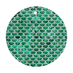 Scales3 White Marble & Green Marble Round Ornament (two Sides) by trendistuff