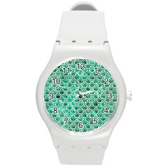 Scales2 White Marble & Green Marble Round Plastic Sport Watch (m) by trendistuff