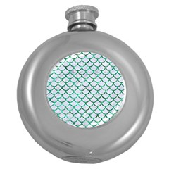 Scales1 White Marble & Green Marble (r) Round Hip Flask (5 Oz) by trendistuff