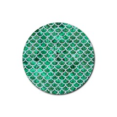 Scales1 White Marble & Green Marble Rubber Coaster (round)  by trendistuff