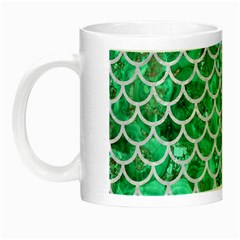 Scales1 White Marble & Green Marble Night Luminous Mugs by trendistuff