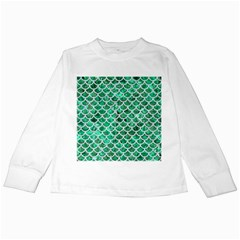 Scales1 White Marble & Green Marble Kids Long Sleeve T Shirts by trendistuff