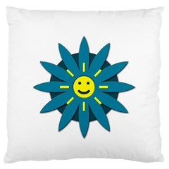 Smiley Flower Large Flano Cushion Case (one Side) by linceazul