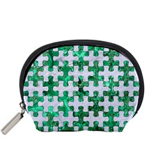 Puzzle1 White Marble & Green Marble Accessory Pouches (small)  by trendistuff