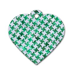 Houndstooth2 White Marble & Green Marble Dog Tag Heart (one Side) by trendistuff