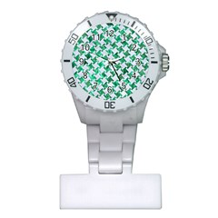 Houndstooth2 White Marble & Green Marble Plastic Nurses Watch by trendistuff