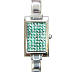 Houndstooth1 White Marble & Green Marble Rectangle Italian Charm Watch by trendistuff