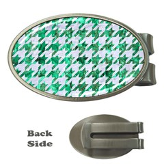 Houndstooth1 White Marble & Green Marble Money Clips (oval)