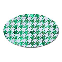 Houndstooth1 White Marble & Green Marble Oval Magnet by trendistuff