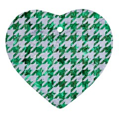 Houndstooth1 White Marble & Green Marble Heart Ornament (two Sides) by trendistuff