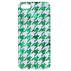 Houndstooth1 White Marble & Green Marble Apple Iphone 5 Hardshell Case With Stand by trendistuff