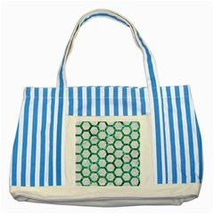 Hexagon2 White Marble & Green Marble (r) Striped Blue Tote Bag by trendistuff