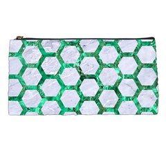 Hexagon2 White Marble & Green Marble (r) Pencil Cases by trendistuff