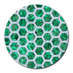 Hexagon2 White Marble & Green Marble Round Mousepads by trendistuff