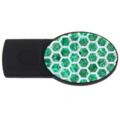 Hexagon2 White Marble & Green Marble Usb Flash Drive Oval (2 Gb) by trendistuff