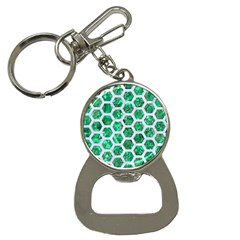 Hexagon2 White Marble & Green Marble Bottle Opener Key Chains