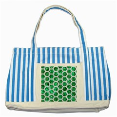 Hexagon2 White Marble & Green Marble Striped Blue Tote Bag