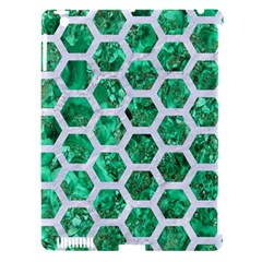 Hexagon2 White Marble & Green Marble Apple Ipad 3/4 Hardshell Case (compatible With Smart Cover) by trendistuff
