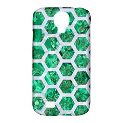Hexagon2 White Marble & Green Marble Samsung Galaxy S4 Classic Hardshell Case (pc+silicone)
