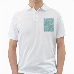 Hexagon1 White Marble & Green Marble (r) Golf Shirts by trendistuff