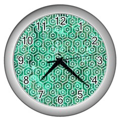 Hexagon1 White Marble & Green Marble Wall Clock (silver) by trendistuff