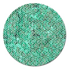 Hexagon1 White Marble & Green Marble Magnet 5  (round) by trendistuff