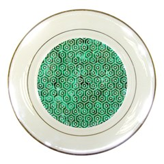 Hexagon1 White Marble & Green Marble Porcelain Plates by trendistuff