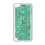 HEXAGON1 WHITE MARBLE & GREEN MARBLE Apple iPod Touch 5 Case (White) Front
