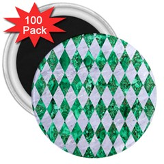 Diamond1 White Marble & Green Marble 3  Magnets (100 Pack) by trendistuff