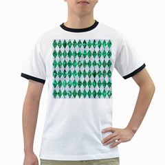 Diamond1 White Marble & Green Marble Ringer T Shirts