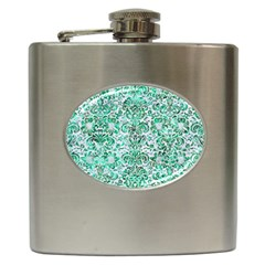 Damask2 White Marble & Green Marble (r) Hip Flask (6 Oz)